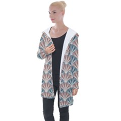 Vintage Scallop Blue Red Pattern Longline Hooded Cardigan