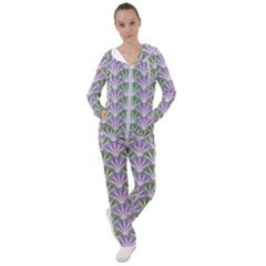 Vintage Scallop Violet Green Pattern Women s Tracksuit