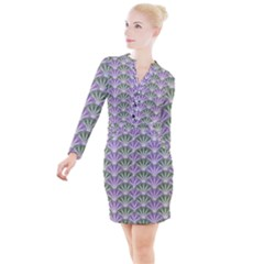 Vintage Scallop Violet Green Pattern Button Long Sleeve Dress by snowwhitegirl
