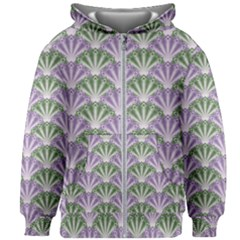 Vintage Scallop Violet Green Pattern Kids  Zipper Hoodie Without Drawstring