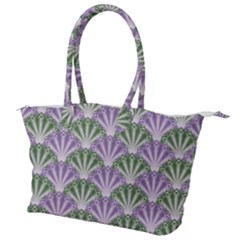 Vintage Scallop Violet Green Pattern Canvas Shoulder Bag