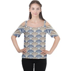 Vintage Scallop Beige Blue Pattern Cutout Shoulder Tee