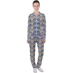 Vintage Scallop Beige Blue Pattern Casual Jacket And Pants Set