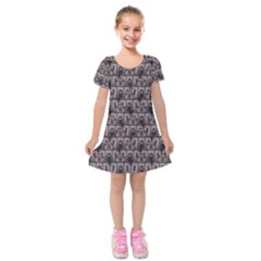 Gothic Church Pattern Kids  Short Sleeve Velvet Dress