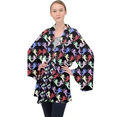 Colorful Cherubs Black Velvet Kimono Robe