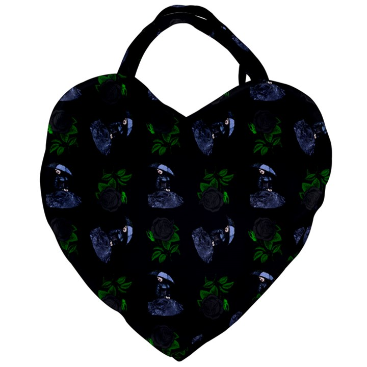 Gothic Girl Rose Black Pattern Giant Heart Shaped Tote