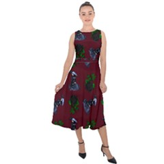 Gothic Girl Rose Red Pattern Midi Tie Back Chiffon Dress