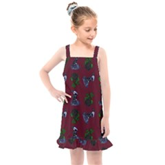 Gothic Girl Rose Red Pattern Kids  Overall Dress