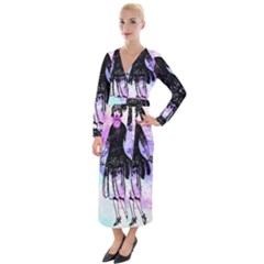 Vintage Girl Abstract Watercolor Velvet Maxi Wrap Dress