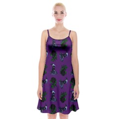 Gothic Girl Rose Purple Pattern Spaghetti Strap Velvet Dress