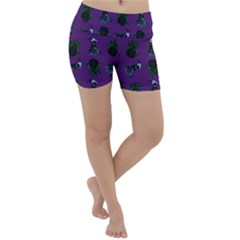 Gothic Girl Rose Purple Pattern Lightweight Velour Yoga Shorts