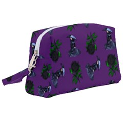 Gothic Girl Rose Purple Pattern Wristlet Pouch Bag (large)