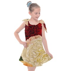 Vintage Carnation Flowers Kids  Tie Up Tunic Dress