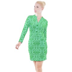 Victorian Paisley Green Button Long Sleeve Dress by snowwhitegirl