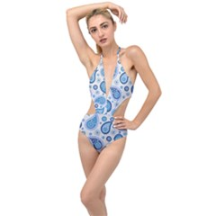 Retro Paisley Blue Plunging Cut Out Swimsuit by snowwhitegirl