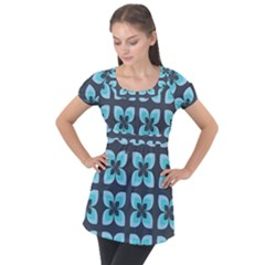 Retro Flower Blue Puff Sleeve Tunic Top by snowwhitegirl
