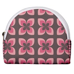Retro Flower Pink Brown Horseshoe Style Canvas Pouch