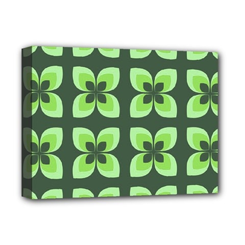 Retro Flower Green Deluxe Canvas 16  X 12  (stretched)  by snowwhitegirl
