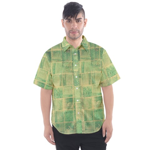 Abstract Green Tile Men s Short Sleeve Shirt by snowwhitegirl