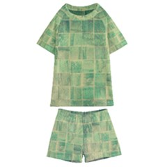 Abstract Green Tile Kids  Swim Tee And Shorts Set