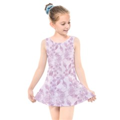 Pink Floral Kids  Skater Dress Swimsuit
