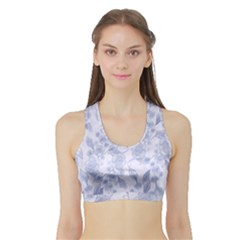 Blue Floral Sports Bra With Border by snowwhitegirl