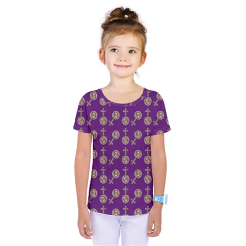 Victorian Crosses Purple Kids  One Piece Tee by snowwhitegirl