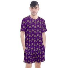 Victorian Crosses Purple Men s Mesh Tee And Shorts Set