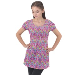 Paisley Pink Sundaes Puff Sleeve Tunic Top
