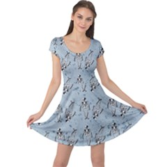 Skeleton Blue Background Cap Sleeve Dress by snowwhitegirl