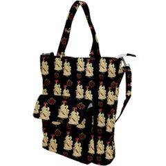 Victorian Skeleton Black Shoulder Tote Bag