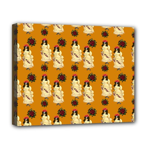 Victorian Skeleton Orange Deluxe Canvas 20  X 16  (stretched)
