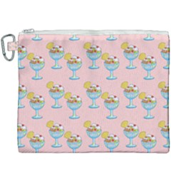 Ice Cream Sundae Pink Canvas Cosmetic Bag (xxxl)