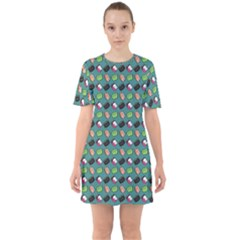 That Is How I Roll   Turquoise Sixties Short Sleeve Mini Dress