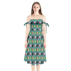That Is How I Roll   Turquoise Shoulder Tie Bardot Midi Dress