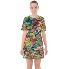 Ml 114 1 Sixties Short Sleeve Mini Dress by ArtworkByPatrick