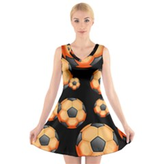 Wallpaper Ball Pattern Orange V Neck Sleeveless Dress