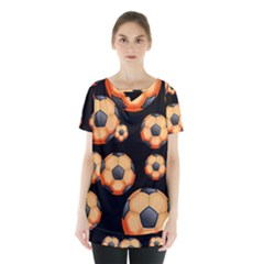 Wallpaper Ball Pattern Orange Skirt Hem Sports Top