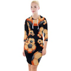 Wallpaper Ball Pattern Orange Quarter Sleeve Hood Bodycon Dress by Alisyart