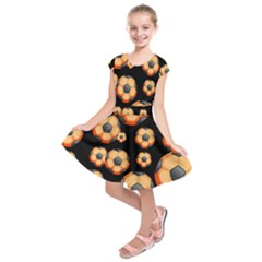 Wallpaper Ball Pattern Orange Kids  Short Sleeve Dress by Alisyart