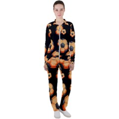 Wallpaper Ball Pattern Orange Casual Jacket And Pants Set