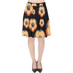 Wallpaper Ball Pattern Orange Velvet High Waist Skirt