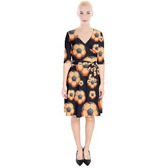 Wallpaper Ball Pattern Orange Wrap Up Cocktail Dress