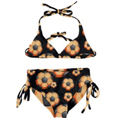 Wallpaper Ball Pattern Orange Kids  Classic Bikini Set