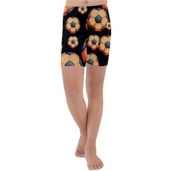 Wallpaper Ball Pattern Orange Kids  Lightweight Velour Capri Yoga Leggings