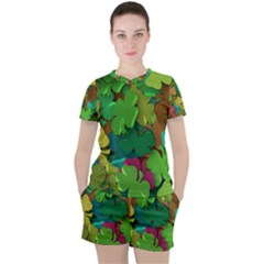 Shamrock Four Leaf Clover Women s Tee And Shorts Set