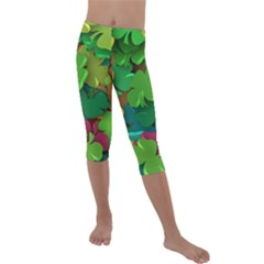 Shamrock Four Leaf Clover Kids  Lightweight Velour Capri Leggings