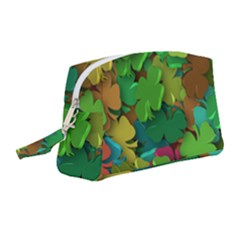 Shamrock Four Leaf Clover Wristlet Pouch Bag (medium)