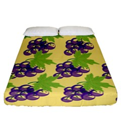 Grapes Background Sheet Leaves Fitted Sheet (queen Size) by Jojostore