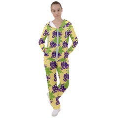 Grapes Background Sheet Leaves Women s Tracksuit